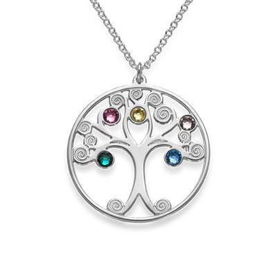 Baum des Lebens Halskette aus Silber mit Geburtssteinen