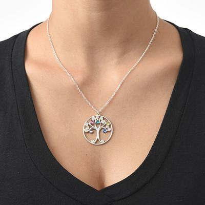 Baum des Lebens Halskette aus Silber mit Geburtssteinen - 1