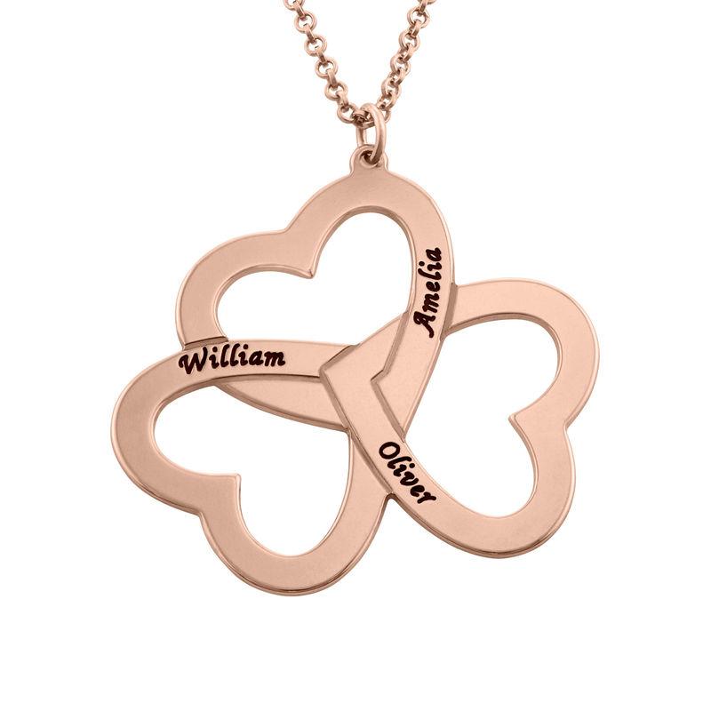 Personalisierte rosévergoldete Herzkette mit 3 Herzen
