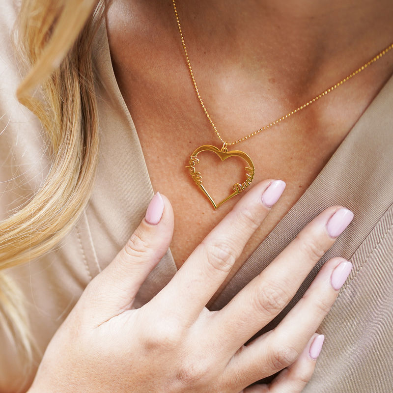 Individualisierbare Herzkette mit Gold Vermeil - 3
