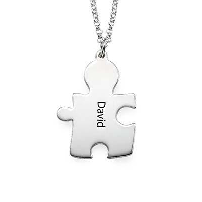 Individualisierte 925er Silber Freundschaft Namenskette im Puzzle Style - 2