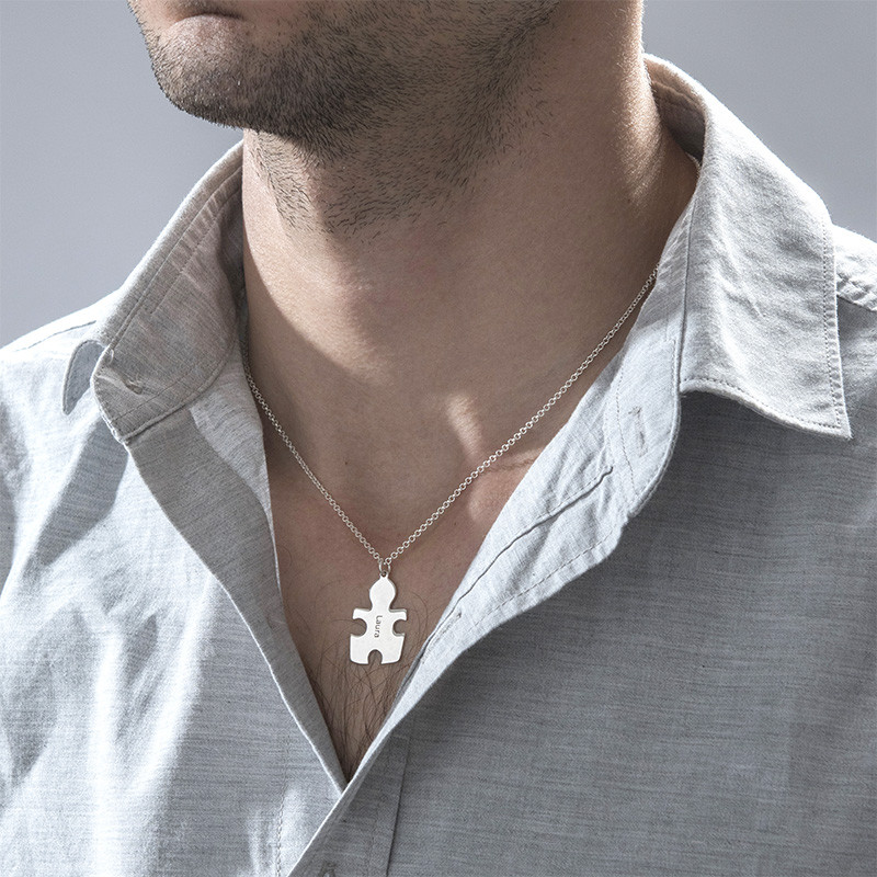 Individualisierte 925er Silber Freundschaft Namenskette im Puzzle Style - 5