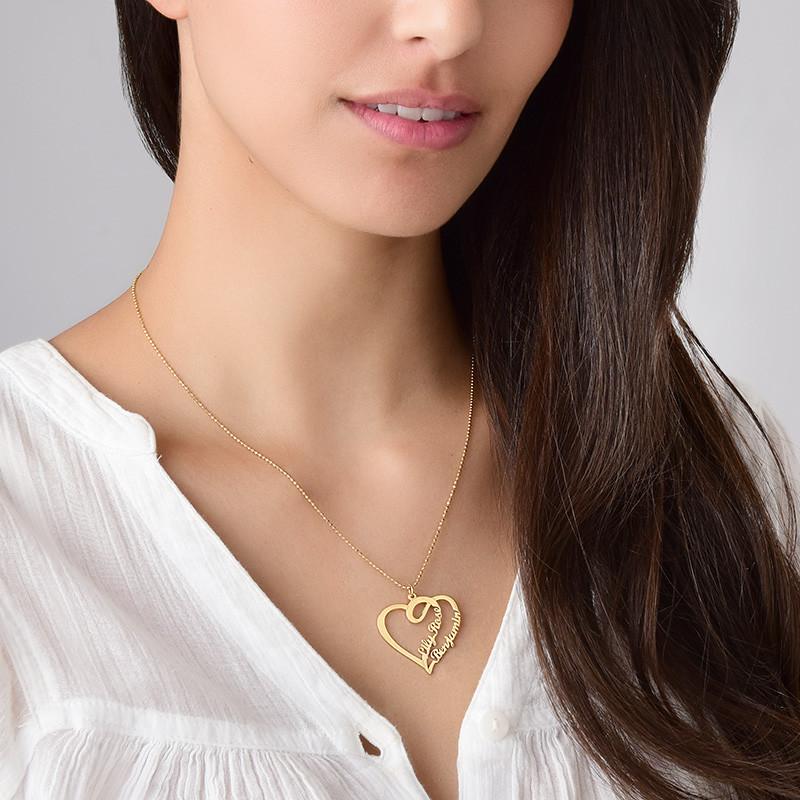 Doppelherz-Halskette -18k vergoldet - 1