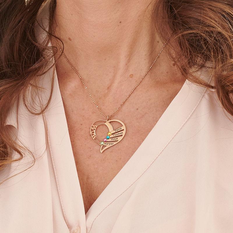 Gravierte Halskette mit Mutter-Geburtsstein aus Gold-Vermeil - 5