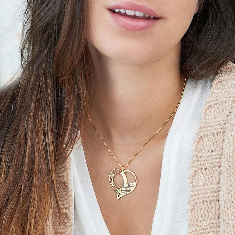 Gravierte Halskette mit Mutter-Geburtsstein aus Gold-Vermeil - 6