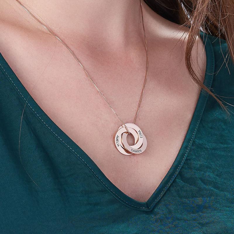 Russische Halskette mit Ring und Gravur - rosévergoldet - 4