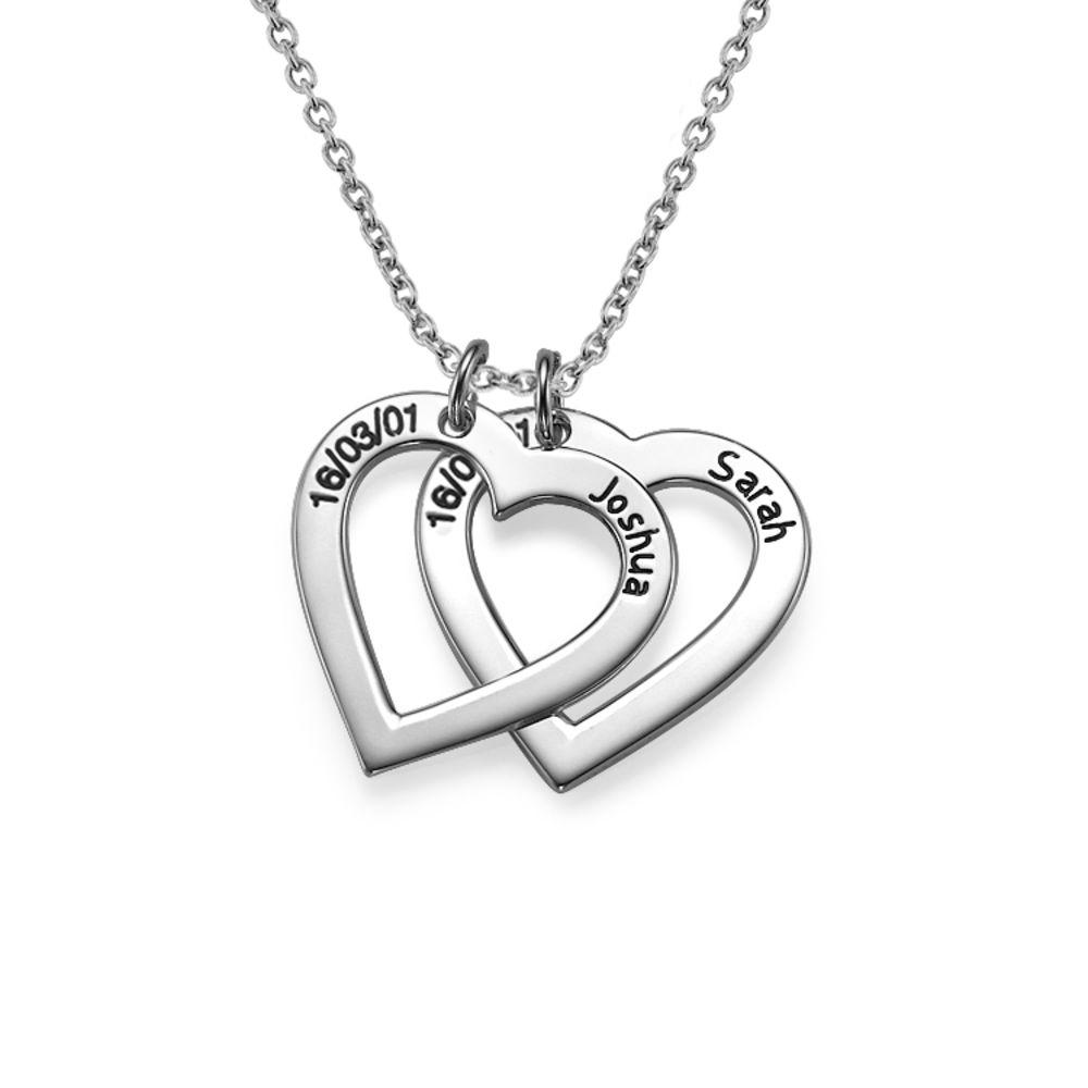 Sterling Silber Herzkette mit Gravur - 1