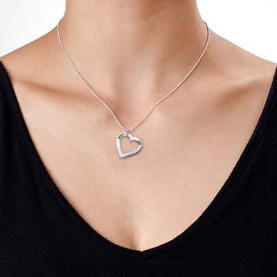 Sterling Silber Herzkette mit Gravur - 3