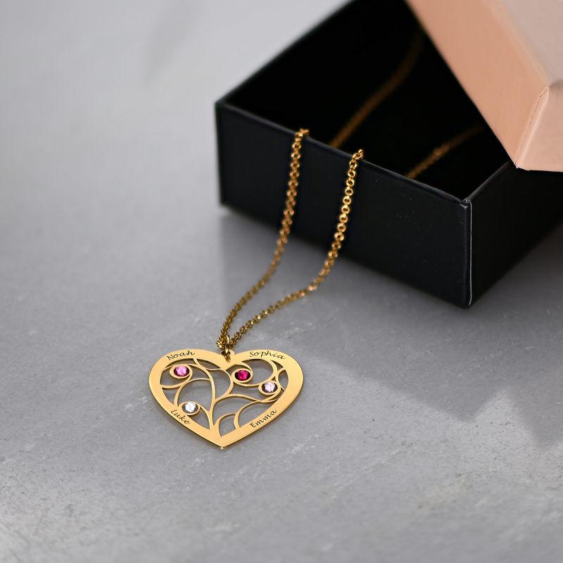 Gravierte Stammbaumkette mit Herz und Geburtssteinen mit Vergoldung - 6