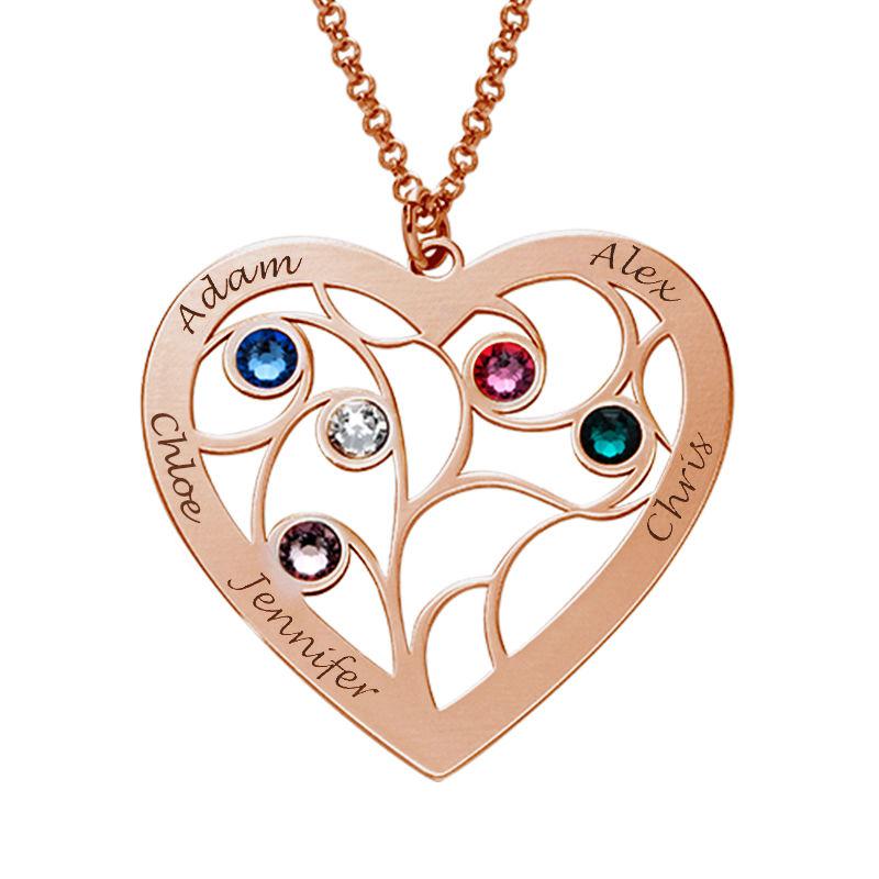 Stammbaumkette mit Herz und Geburtssteinen mit Rosévergoldung - 2