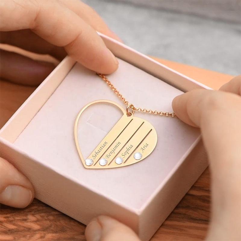 Geburtsstein-Halskette in Gold-Vermeil für Mutter - 6