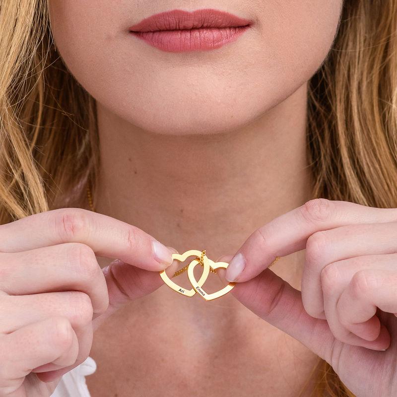 Verschlungene Herzkette mit Gravur und 750er Vergoldung - 3