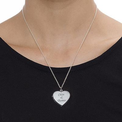 Gravierte 925er Silberkette mit Herz Medaillon - 3