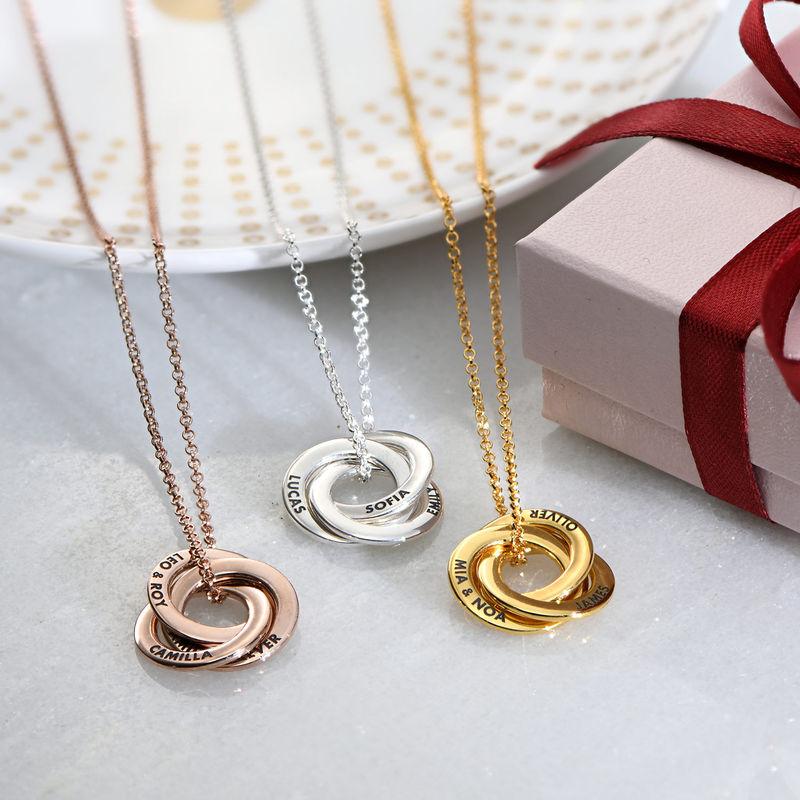 Halskette mit russischen Ringen aus Silber mit Roségold-Beschichtung – verbessertes 3D-Design - 2