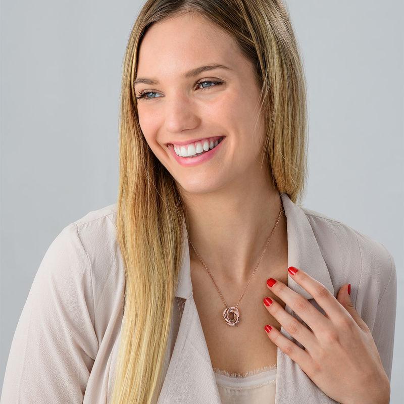 Halskette mit russischen Ringen aus Silber mit Roségold-Beschichtung – verbessertes 3D-Design - 3