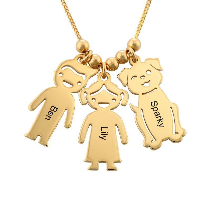 Kette mit graviertem Kind-, Katzen- und Hunde-Anhänger mit Vergoldung - 4