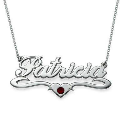 Silber Namenskette mit Herz und Kristall