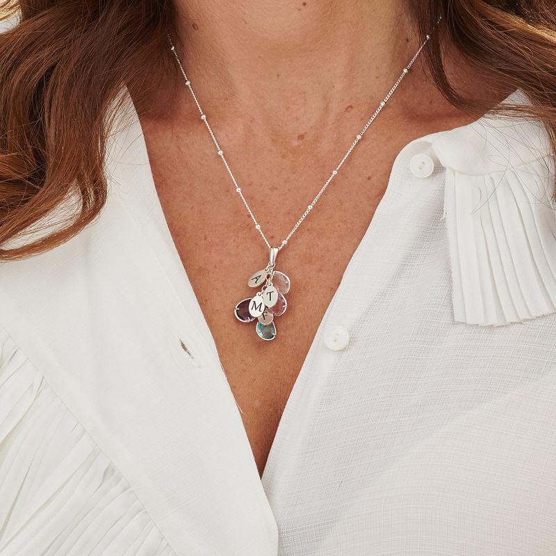 Personalisierte Geburtsstein-Tropfenkette für Mütter in Silber - 3