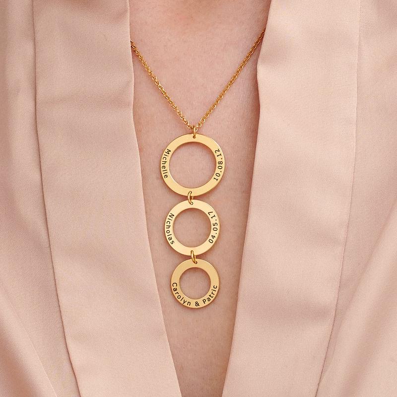 Gold-beschichtete Kette mit 3 Kreisen und Gravur - 2
