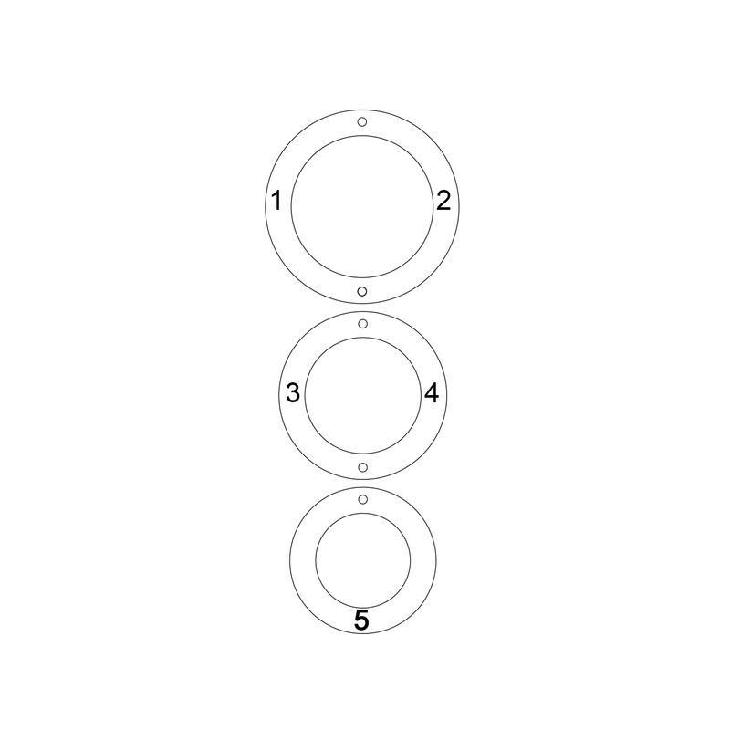 Gold-beschichtete Kette mit 3 Kreisen und Gravur - 3