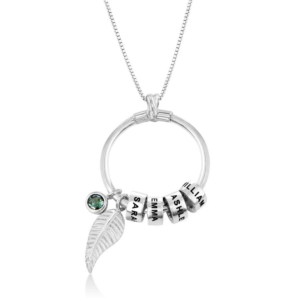 Kreisanhänger-Kette mit Blatt und personalisierten Beads™ aus Sterlingsilber - 1
