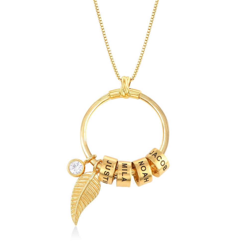 Linda Kreisanhänger-Kette mit Blatt und personalisierten Beads™ aus 750er-Gold-Vermeil - 1