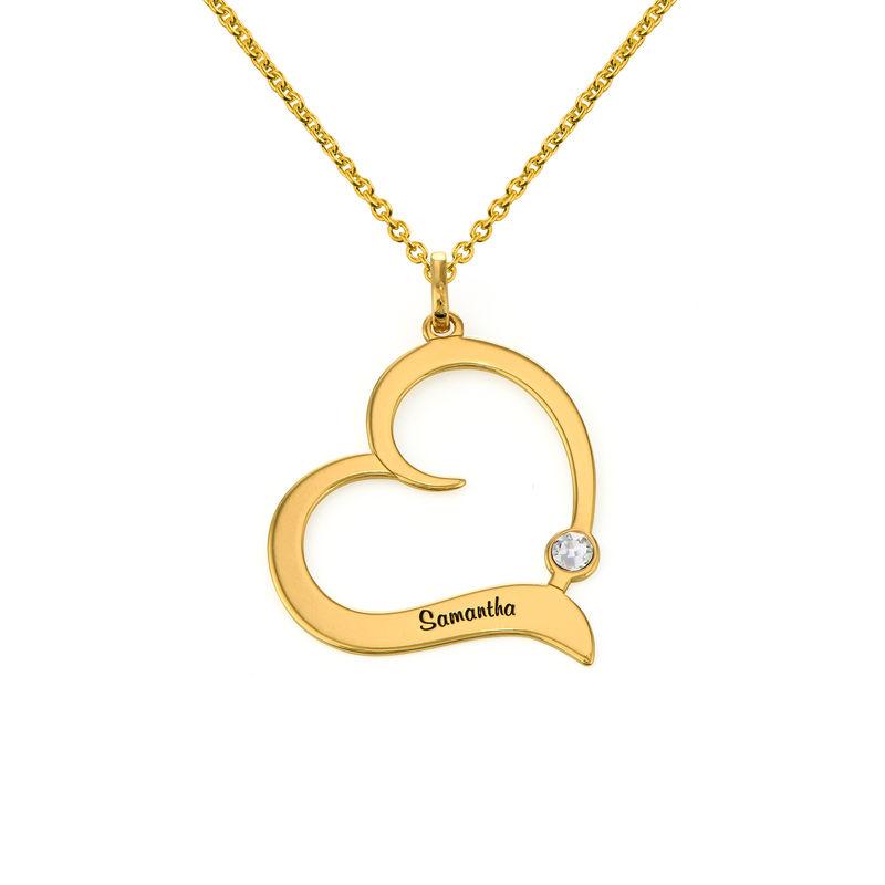 Gold Vermeil Geburtsstein-Herzkette mit gravierten Namen