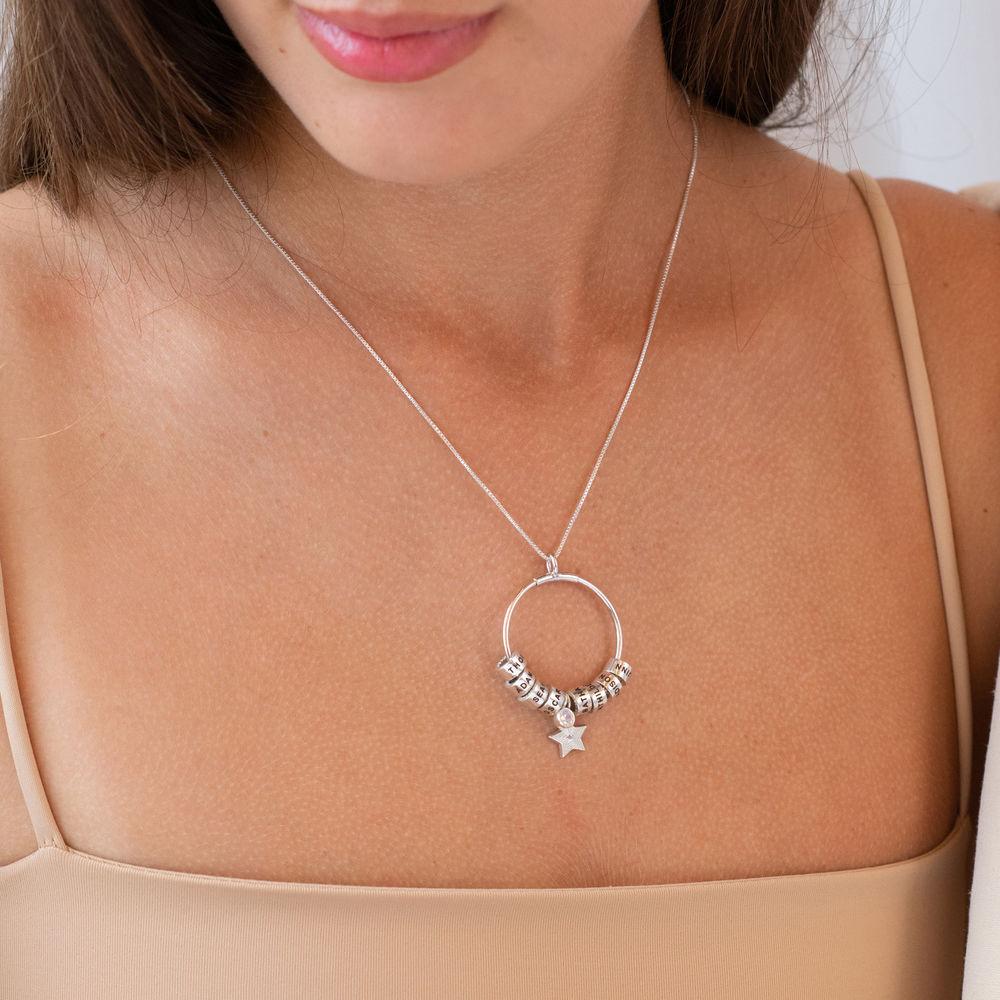 Großer Kreis Linda Anhängerkette mit Stern und personalisierten Perlen ™ aus Sterlingsilber - 2