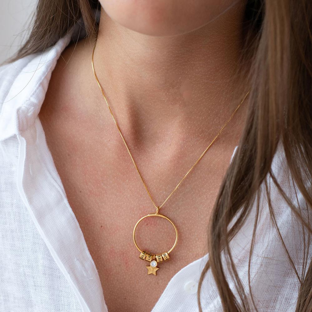 Kostenloser Weihnachtsversand Großer Kreis Linda Anhängerkette mit Stern und personalisierten Perlen ™ aus 750er-Gold-Vermeil - 2