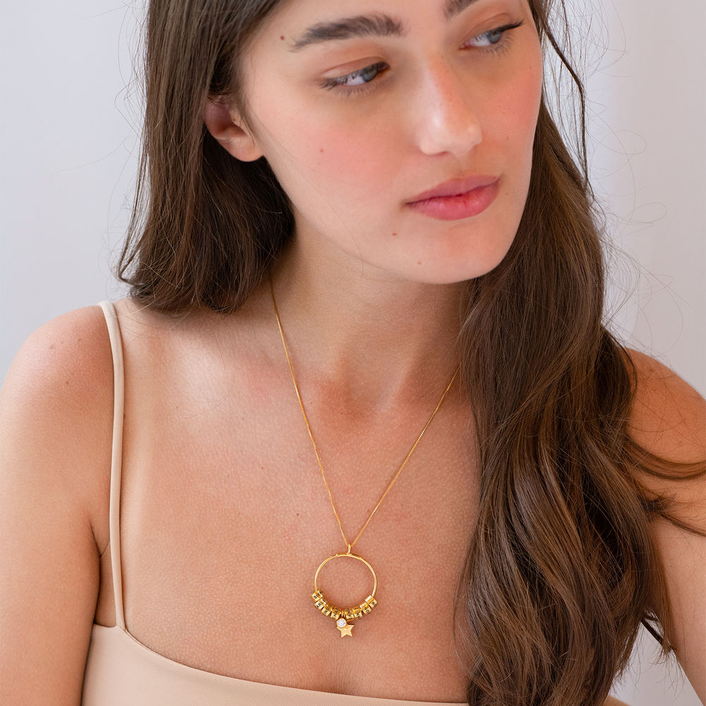 Kostenloser Weihnachtsversand Großer Kreis Linda Anhängerkette mit Stern und personalisierten Perlen ™ aus 750er-Gold-Vermeil - 3