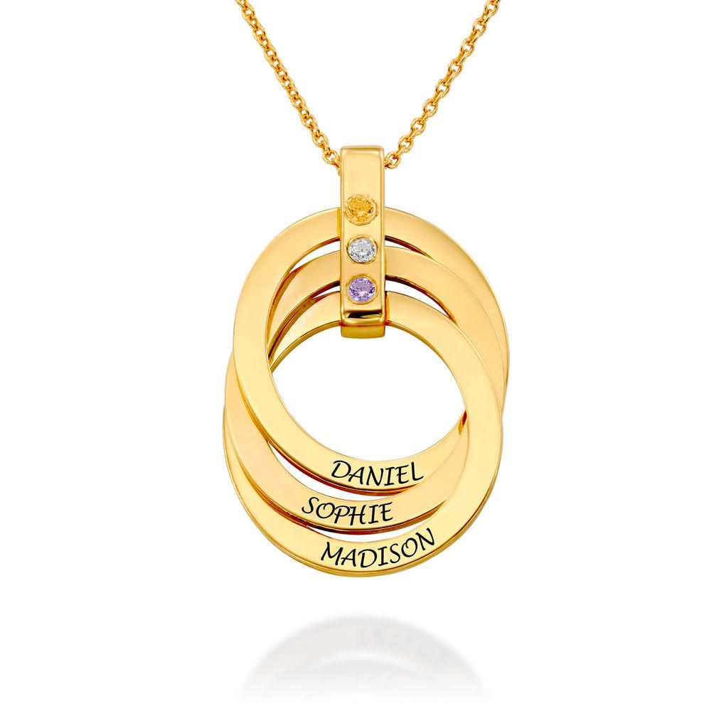 Halskette mit gravierten russischen Ringen aus Gold-Vermeil mit Geburtsstein