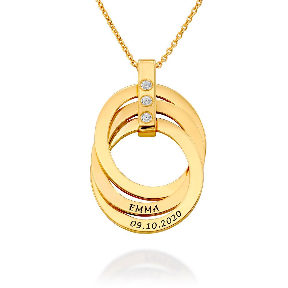 Halskette mit gravierten russischen Ringen aus Gold-Vermeil mit Geburtsstein - 1