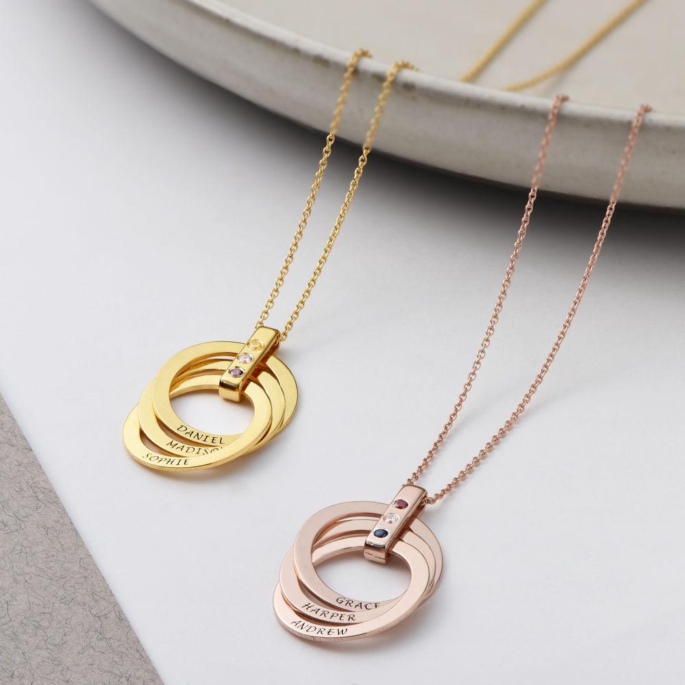 Halskette mit gravierten russischen Ringen aus Gold-Vermeil mit Geburtsstein - 3