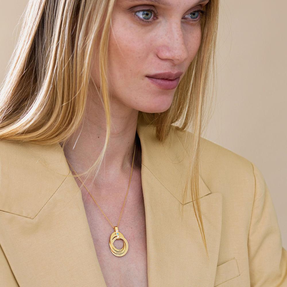 Halskette mit gravierten russischen Ringen aus Gold-Vermeil mit Geburtsstein - 4