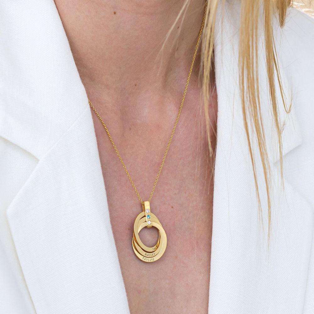 Halskette mit gravierten russischen Ringen aus Gold-Vermeil mit Geburtsstein - 5