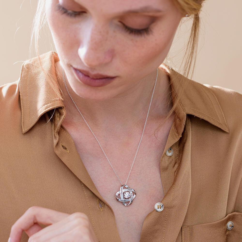 Gravierte Eternal-Halskette mit kubischen Zirkonia in Sterling Silber - 5