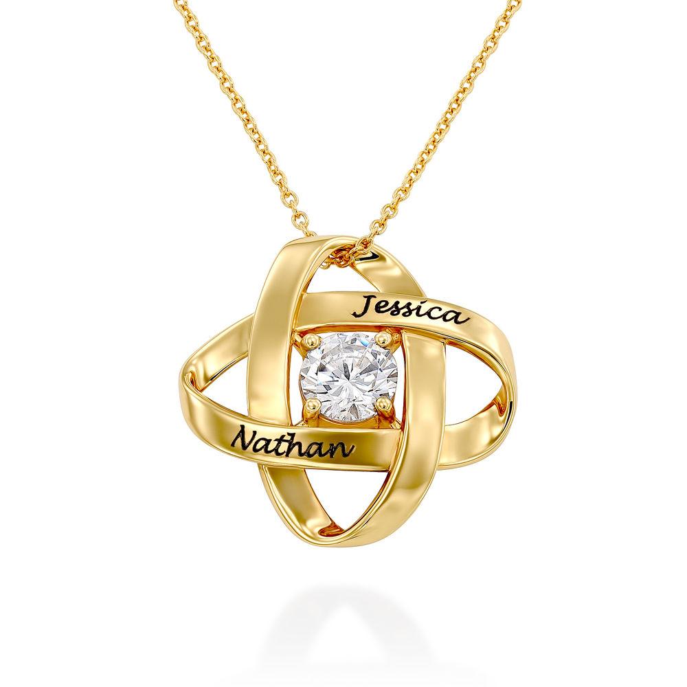 Gravierte Eternal-Halskette mit kubischen Zirkonia in Gold Vermeil