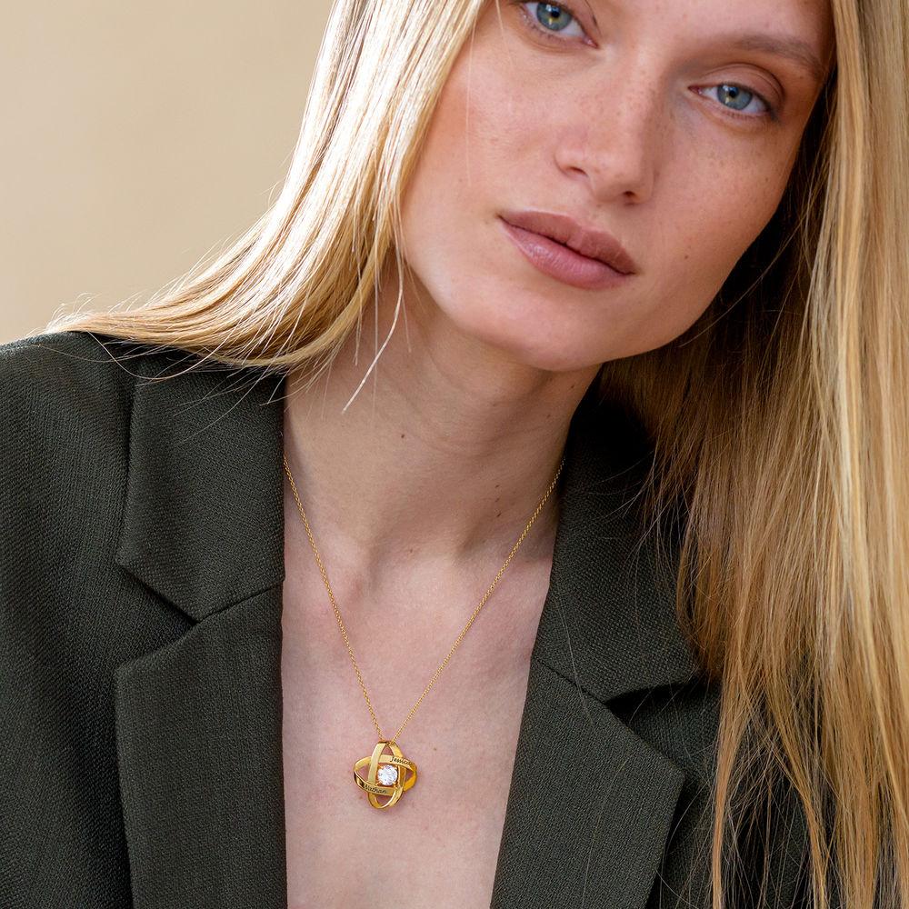 Gravierte Eternal-Halskette mit kubischen Zirkonia in Gold Vermeil - 2