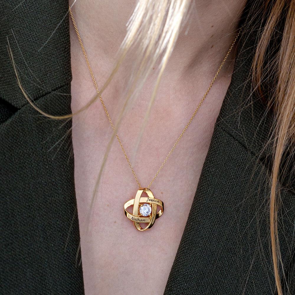 Gravierte Eternal-Halskette mit kubischen Zirkonia in Gold Vermeil - 3