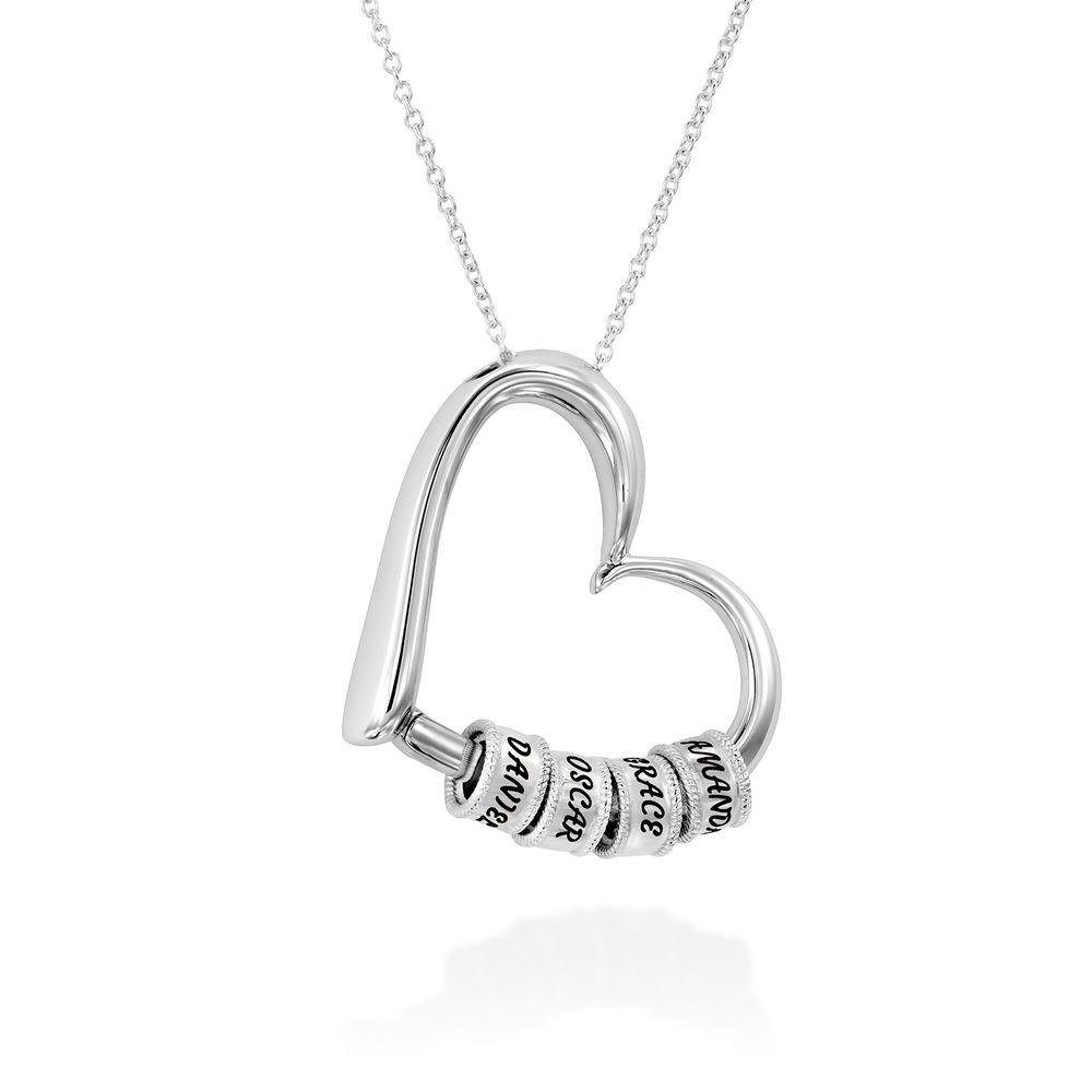 Charmevolle Herz-Halskette mit eingravierten Perlen in Sterling Silber - 2