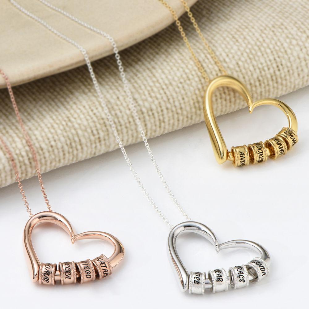 Charmevolle Herz-Halskette mit eingravierten Perlen in Sterling Silber - 4