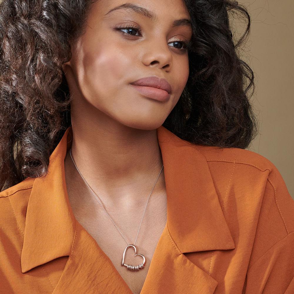 Sweetheart Halskette mit gravierten Perlen aus Rosévergoldetes 925er Sterling Silber - 4