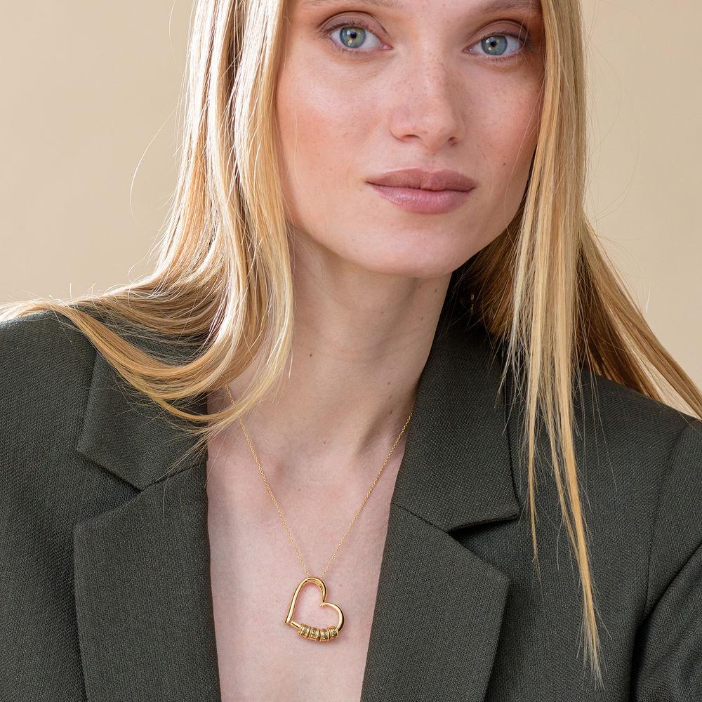 Sweetheart Halskette mit gravierten Perlen aus 750er Gold-Vermeil - 5