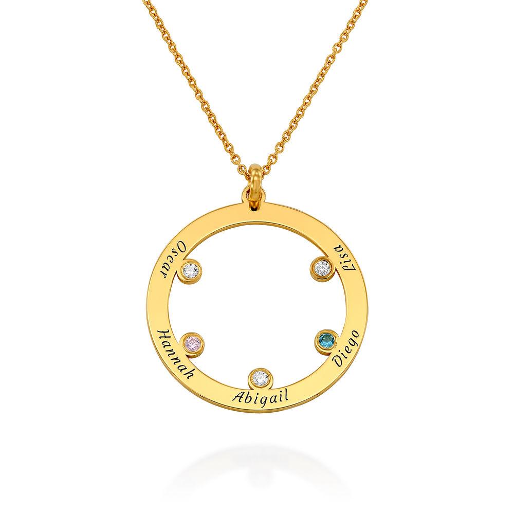 Die Familienkreis Halskette mit Geburtssteinen aus 750er vergoldetes 925er Silber
