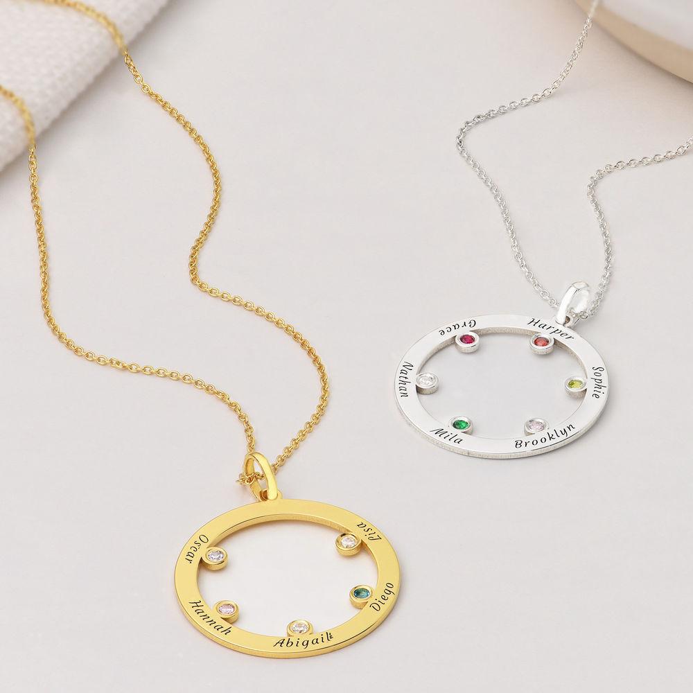 Die Familienkreis Halskette mit Geburtssteinen aus 750er vergoldetes 925er Silber - 1