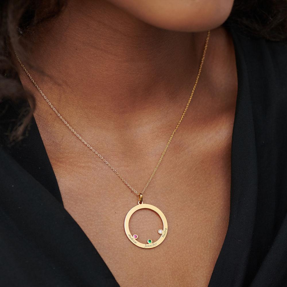 Die Familienkreis Halskette mit Geburtssteinen aus 750er vergoldetes 925er Silber - 3