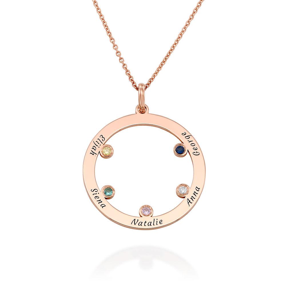 Die Familienkreis Halskette mit Geburtssteinen aus Rosévergoldetes 925er Sterling Silber