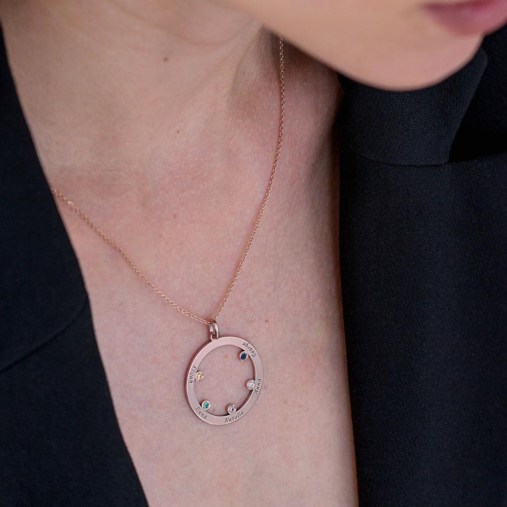 Die Familienkreis Halskette mit Geburtssteinen aus Rosévergoldetes 925er Sterling Silber - 3