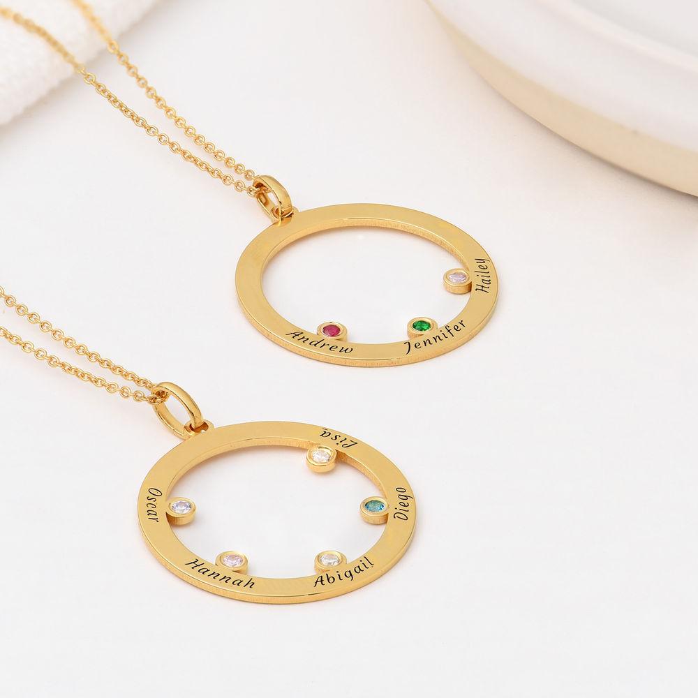 Die Familienkreis Halskette mit Geburtssteinen aus 750er Gold-Vermeil - 1