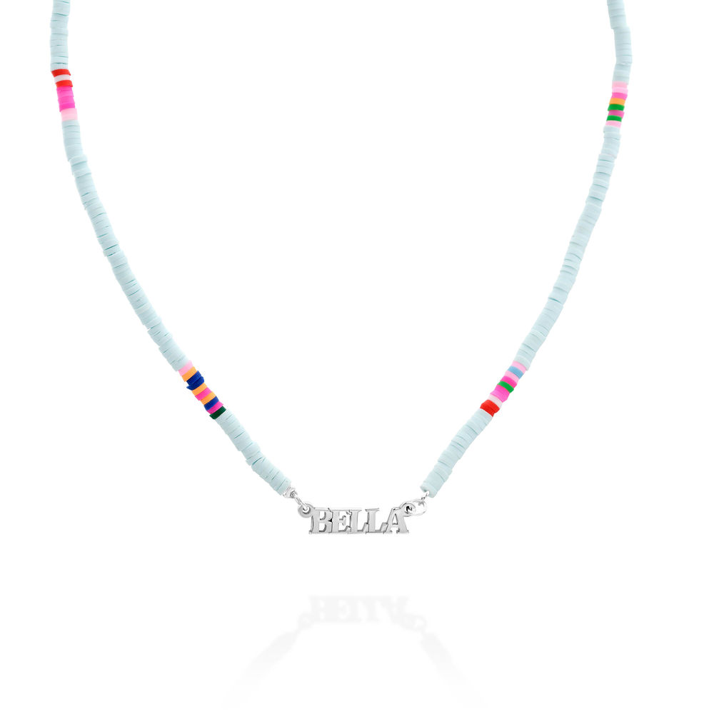 Hellblaue Perlen-Namenskette aus Sterlingsilber